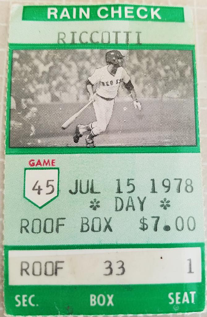 7-15-78 Red Sox tix